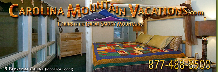 List of 4 and 5 bedroom NC Mountain Cabin Rentals in the Bryson City, Cherokee, nantahala and Fontana Lake areas of the North Carolina  Smoky Mountains by Carolina Mountain Vacations